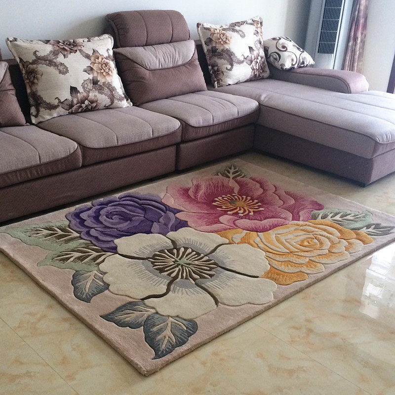 Wool Hand Carved Carpet Livingroom Pastoral Flower Carpet Bedroom Sofa Coffee Table Rug Thick Study Room Floor Mat Kids Tatami