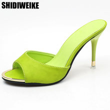 c3848a3453f02 Thin Heel slipper women shoes sexy black thick bottom open toe high  beautiful slides Metal Decoration