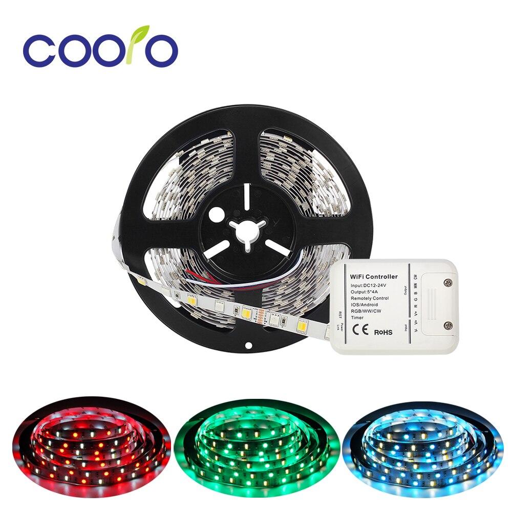 Lumière de bande de LED de cc 12 V 24 V 5 M RGB CCT 5050 SMD bande de LED lumière de bande Non LED étanche + contrôleur de WiFi
