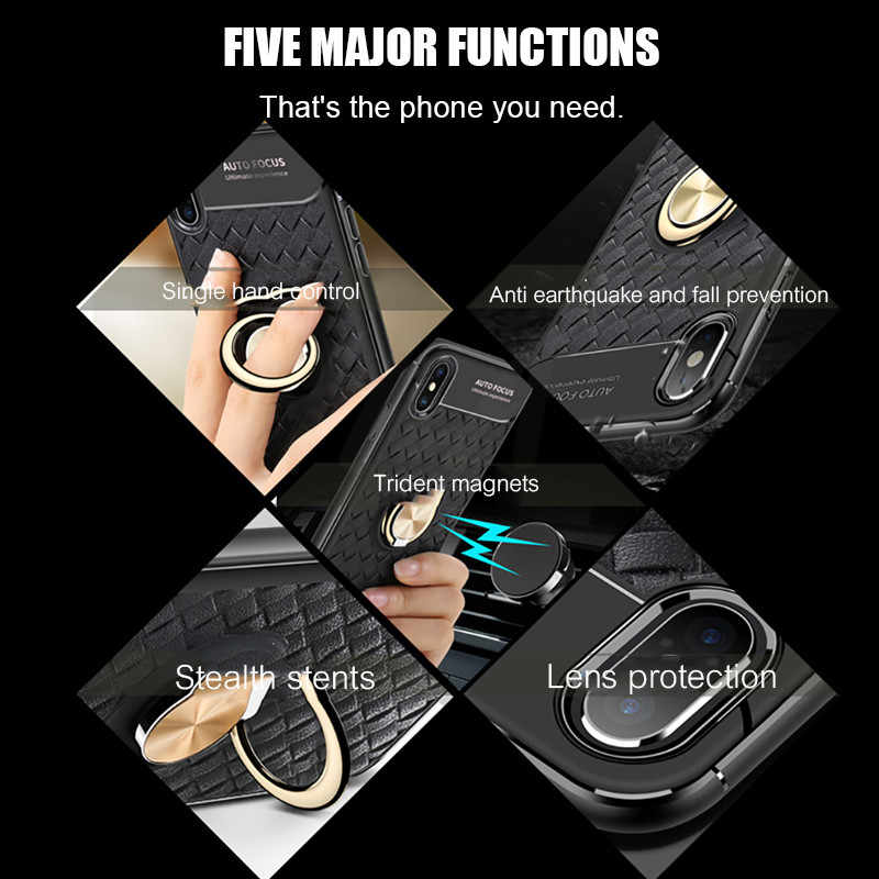 H&A Luxury Business Style Phone Case For iPhone X XR XS Max 8 Car Bracket Magnetic Ring TPU Cover For iPhone 7 8 6 6s Plus Cases