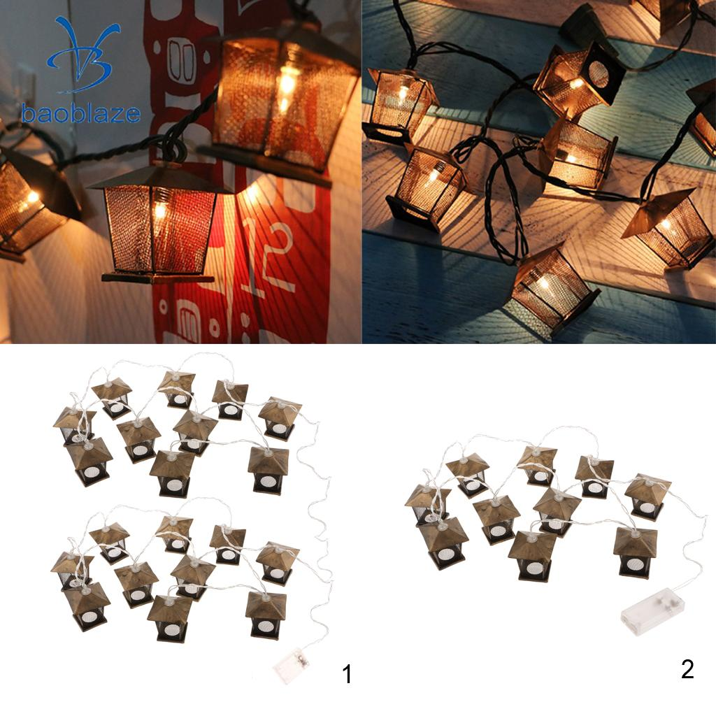 Antique Iron Net House Fairy Light String Lamp for Xmas Balcony Room Bedroom Decoration, Battery Operated