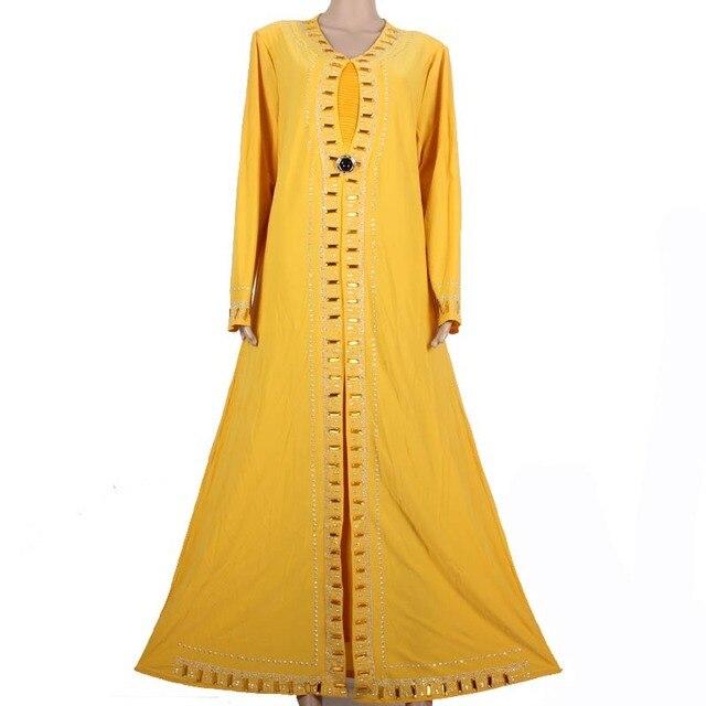 Мусульманский Абая Кафтан Исламская Одежда для Женщин Бисероплетение Дизайн Турецкая Абая в Дубае Кафтан Макси Платье Желтый 1258