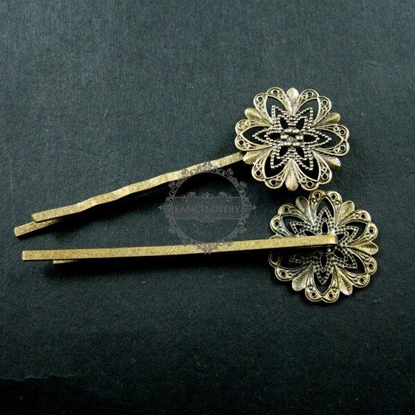 """20 מ""""מ DIY פרח vintage סגנון ברונזה פיליגרן בובי פין אחיזת שיער אספקת DIY 1502010"""