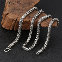 7mm Dragon Scale Chain Punk Big Necklaces Real 925 Silver 50cm to 65cm Fashion Original S925 Thai Silver Men Necklace Jewelry