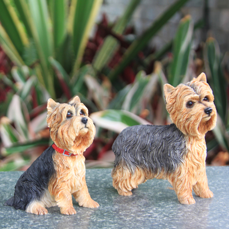 Fashion Yorkshire Terrier Simulation Dog Model Car Pendulum Crafts Home Collection Gifts Figurines Miniatures Decoration Crafts