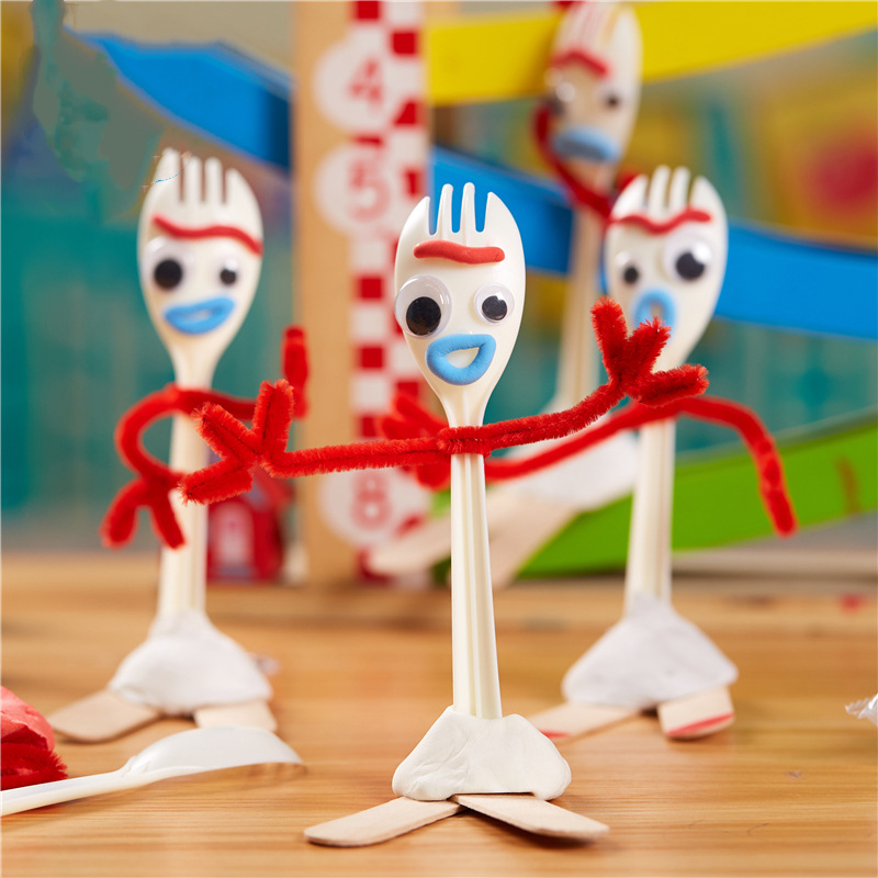 14cm DIY Forky Buzz Lightyear Toy Story 4 Cartoon Woody Jessie Slinky Dog Action figure collectible Doll toys for children
