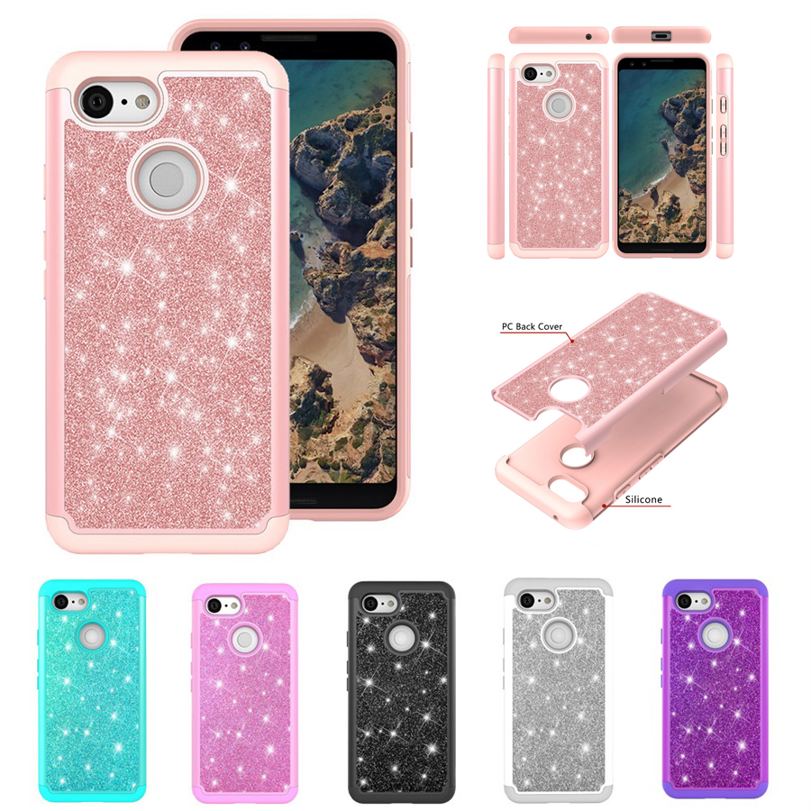 Bling Glitter Case For Google Pixel 3 Shockproof Hard PC Silicon Case For Google Pixel 3 XL Soft TPU Case Cover Shell Coque