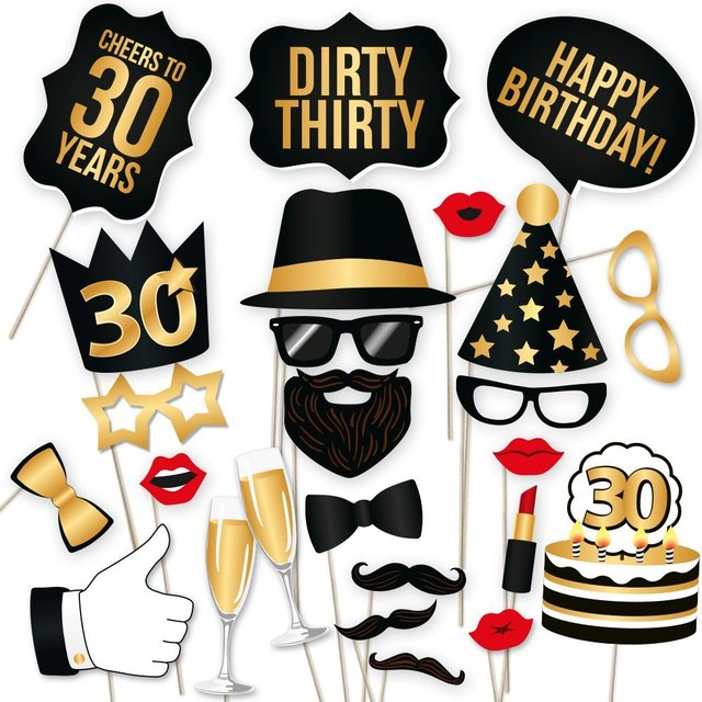 36Pieces Photo Booth Prop Man Woman Style 30 Years Moustache Glass Mask 30th Birthday Gift Funny