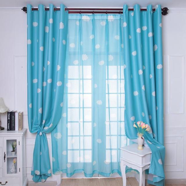 New Arrival Fresh Blue Sky Clouds Curtain Child Real Blackout Curtains