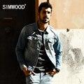 Simwood 2017 primavera nueva llegada chaqueta de mezclilla hombres slim fit cotton brand clothing brand vintage clothing nj6524