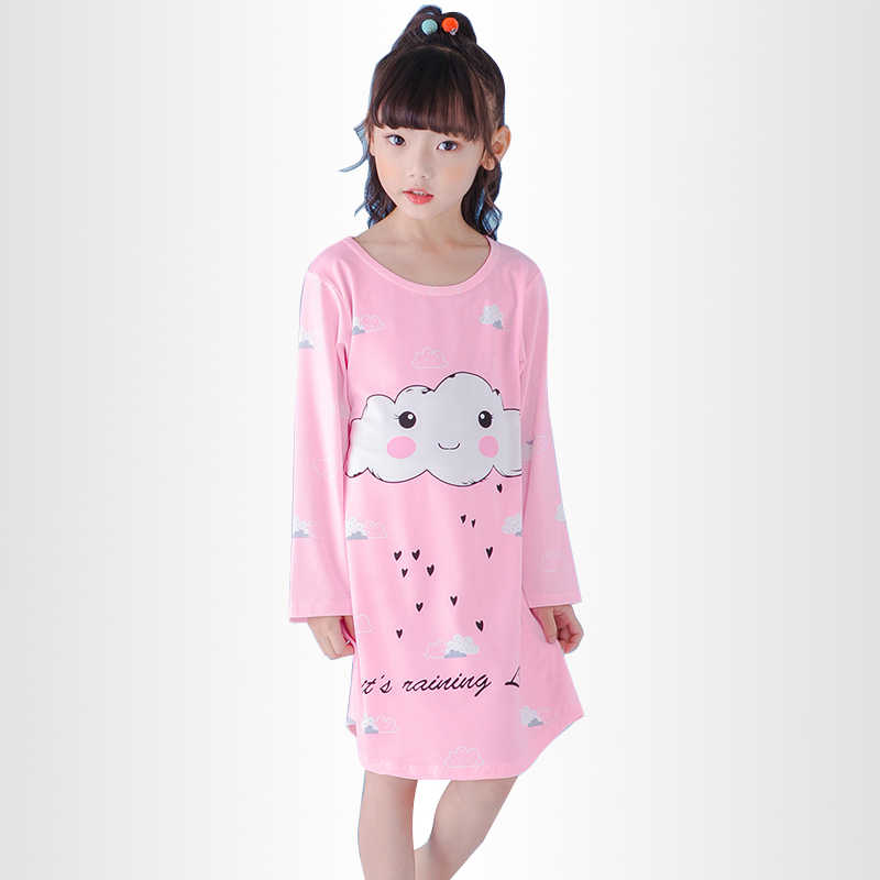 b3fa3effa1132 Spring and Autumn Big girls Nightgown Pajamas kids long sleeved nightdress  cute cartoon child female baby sleeping dress 2-12 T