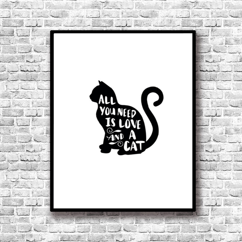 All You Need Is Cat Quotes Wall Pictures Canvas Art