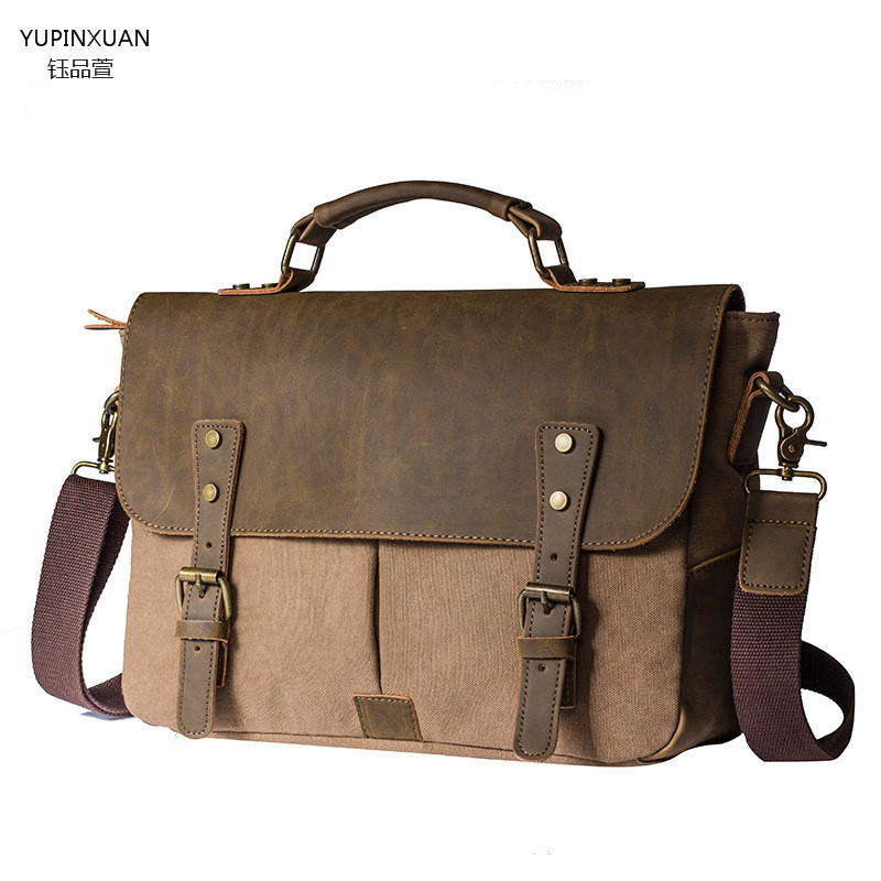 high quality office work. yupinxuan branded vintge briefcase men canvas handbags office bag laptop messenger lawyer retro work chile high quality h