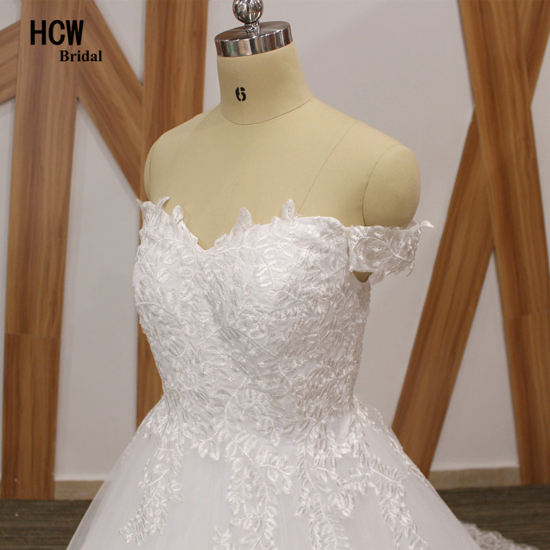 Sierlijke Tull Lace trouwjurk boothals off the shoulder prinses - Trouwjurken - Foto 5