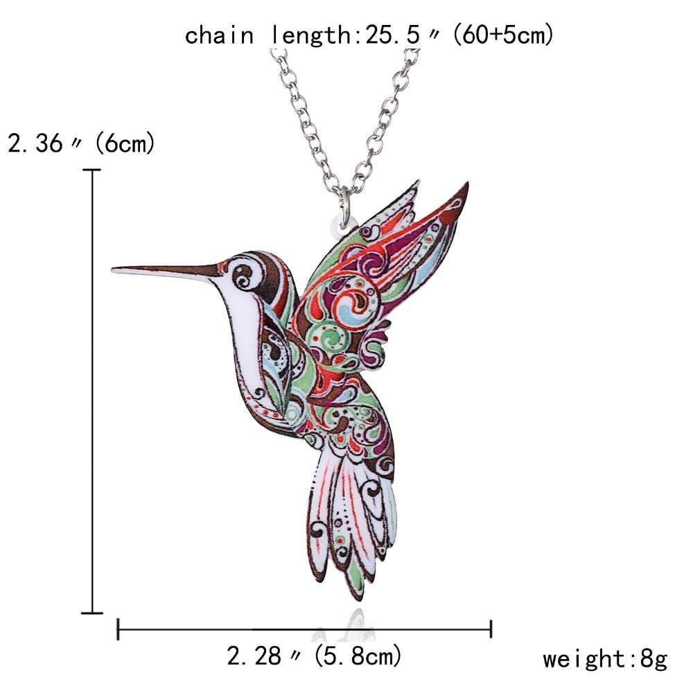 Đồ Trang Sức Nhiều Màu Sắc 2 Mặt Acrylic Chim Bay In Hình Hoa Dây Chuyền Nữ Trang Phục Áo Len Dây Chuyền Tặng