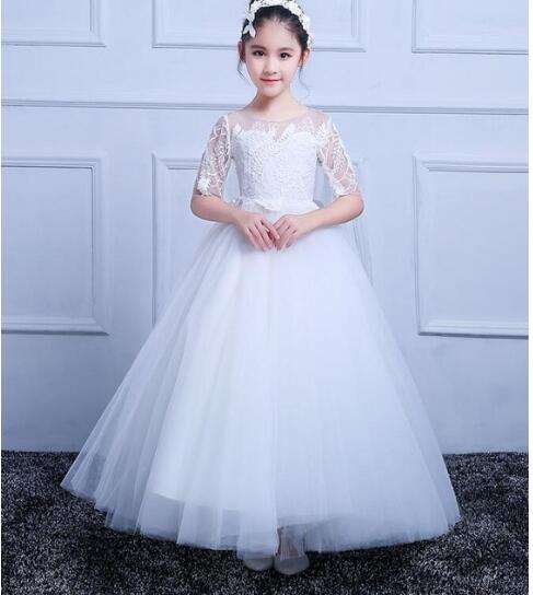 First Communion Dresses Puffy Tulle Half Sleeves O-neck Flower Girl Dresses Vestido Christmas Dress 2018 New Arrival green crew neck roll half sleeves mini dress