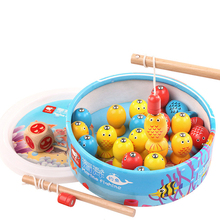 Baby Wooden Children 3D Educational Fishing Game Magnetic Rod Toy Outdoor Fun Toy For Kid 20 fish 2 fishing rods barrel wooden magnetic educational intelligence development fishing game kids toys magnet fish kid educational toy go fishing game w201