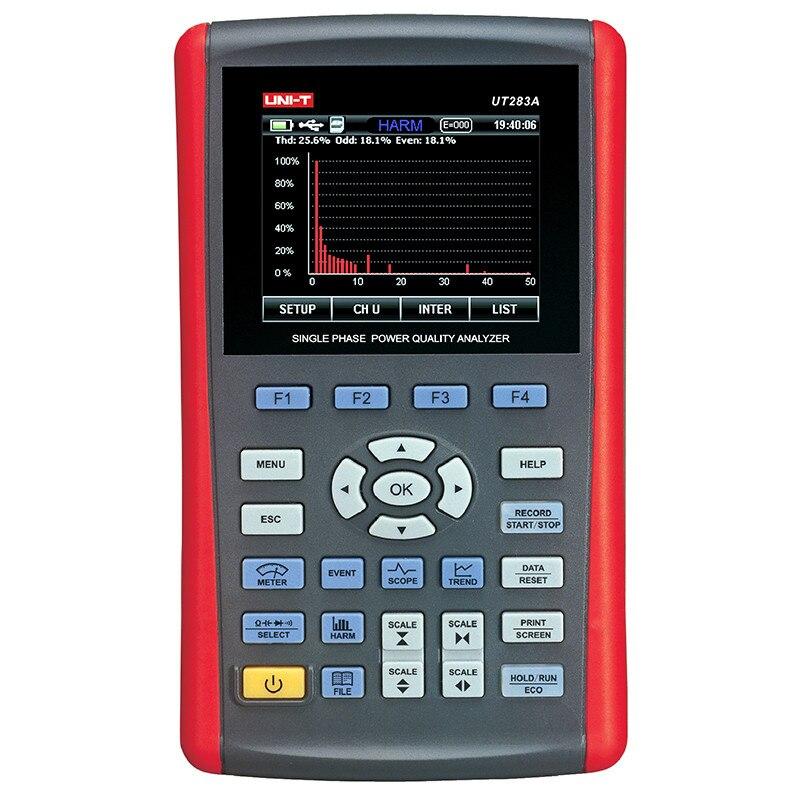 UNI T UT283A однофазный Анализатор качества электроэнергии, качество Тестер Измерение истинных среднеквадратичных значений запись данных USB св