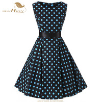 SISHION Plus Size Polka Dot Dress Women Vintage Swing Belt Black 50s 60s Rockabilly Prom Party