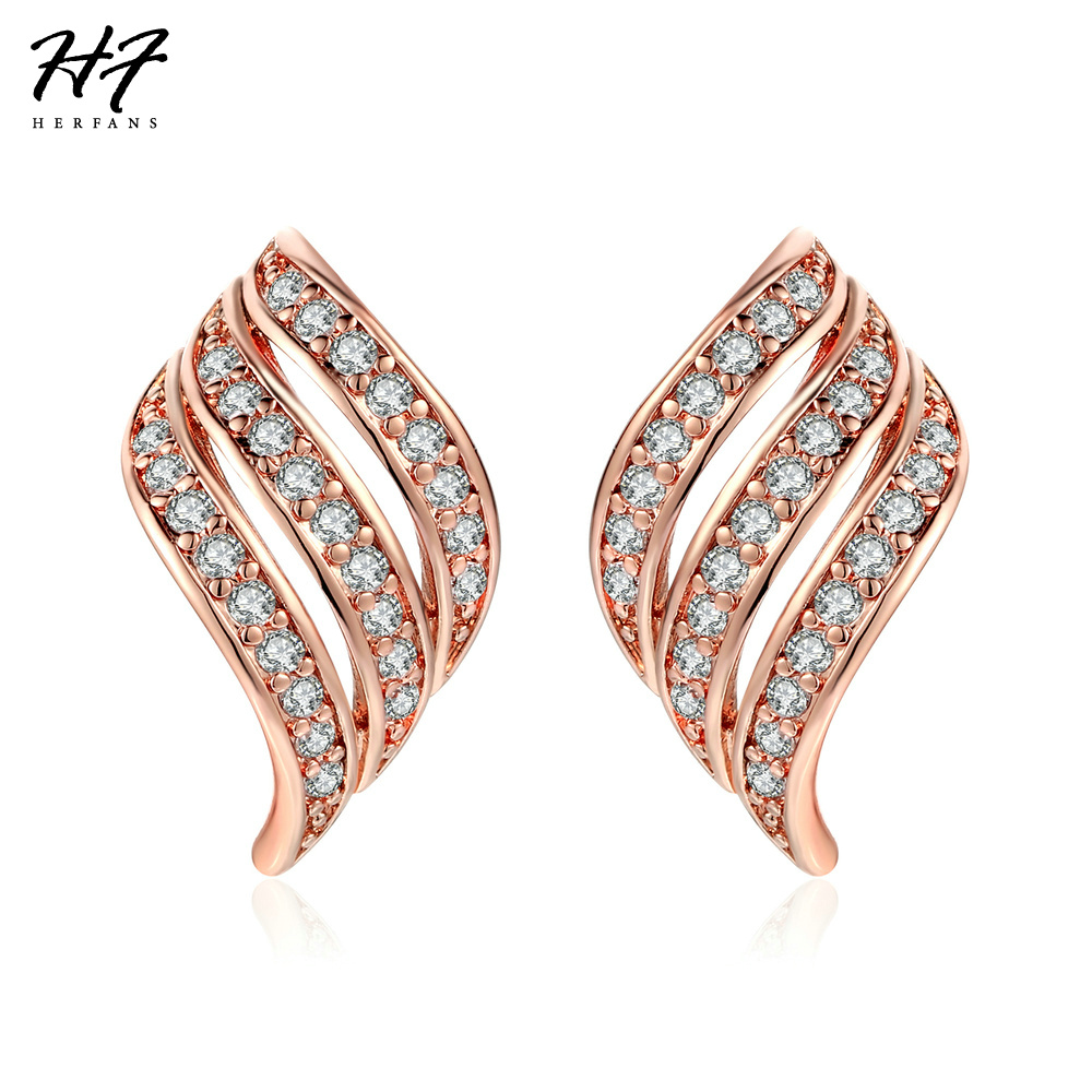 Vintage CZ Crystal Angles Wings Stud Earrings Rose Gold Color Crystal Fashion Jewelry For Women Wholesale E037 E038