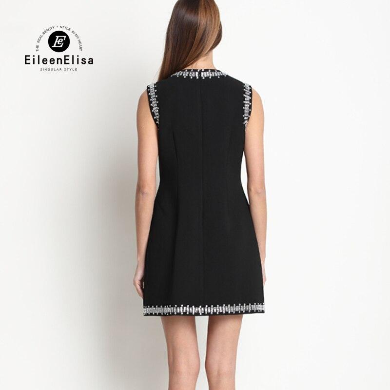 Perlée Luxe Robe Noir Piste Femmes D'été Manches Robes Casual Mini 2017 De Courtes FxYwRp