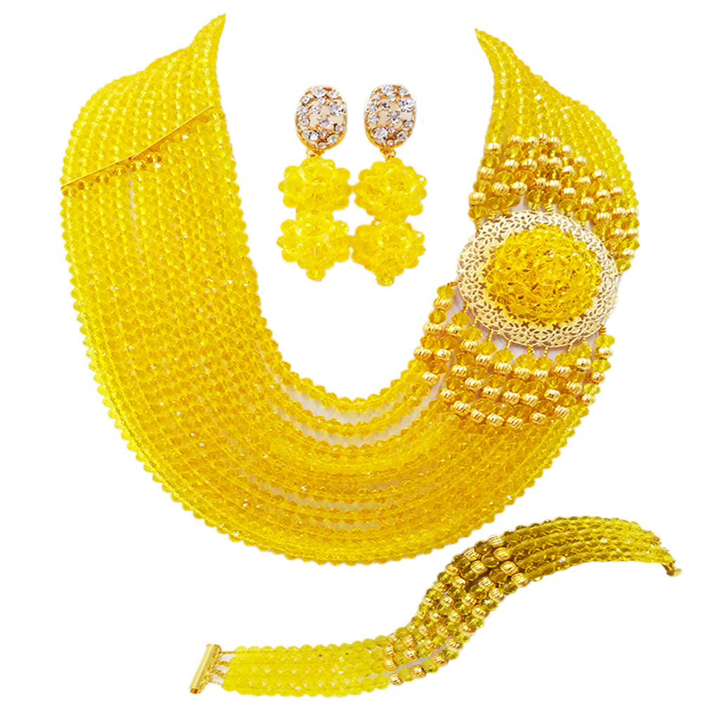 Լավագույն վաճառք: Նոր դեղին բյուրեղյա զգեստներ Նիգերիայի աֆրիկյան հարսանեկան ուլունքների զարդերի զարդեր հավաքեք NC1265