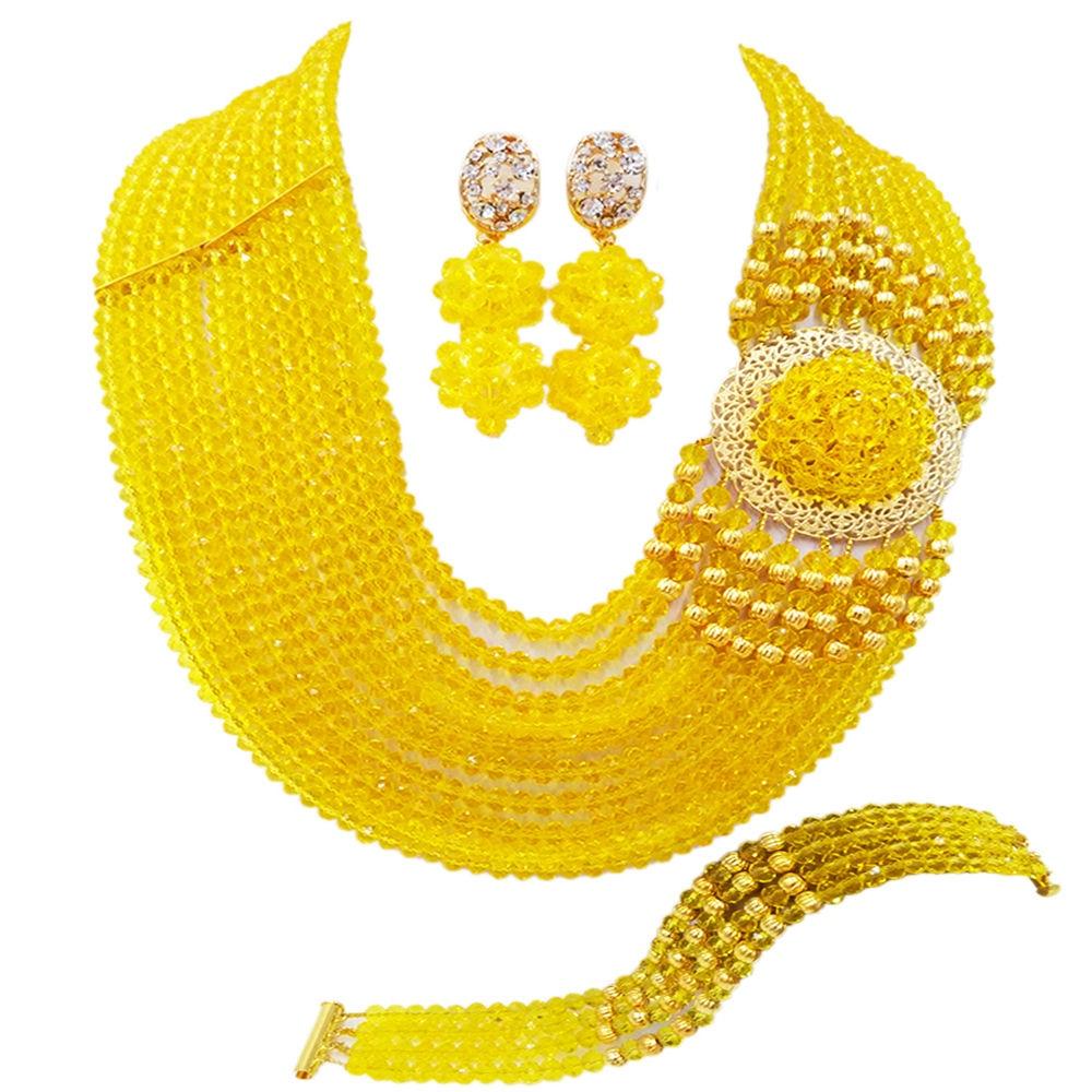 Jualan terbaik! Baru Kristal Kostum Kuning Nigeria Manik Perkahwinan Afrika Kalung Barang Kemas Set NC1265