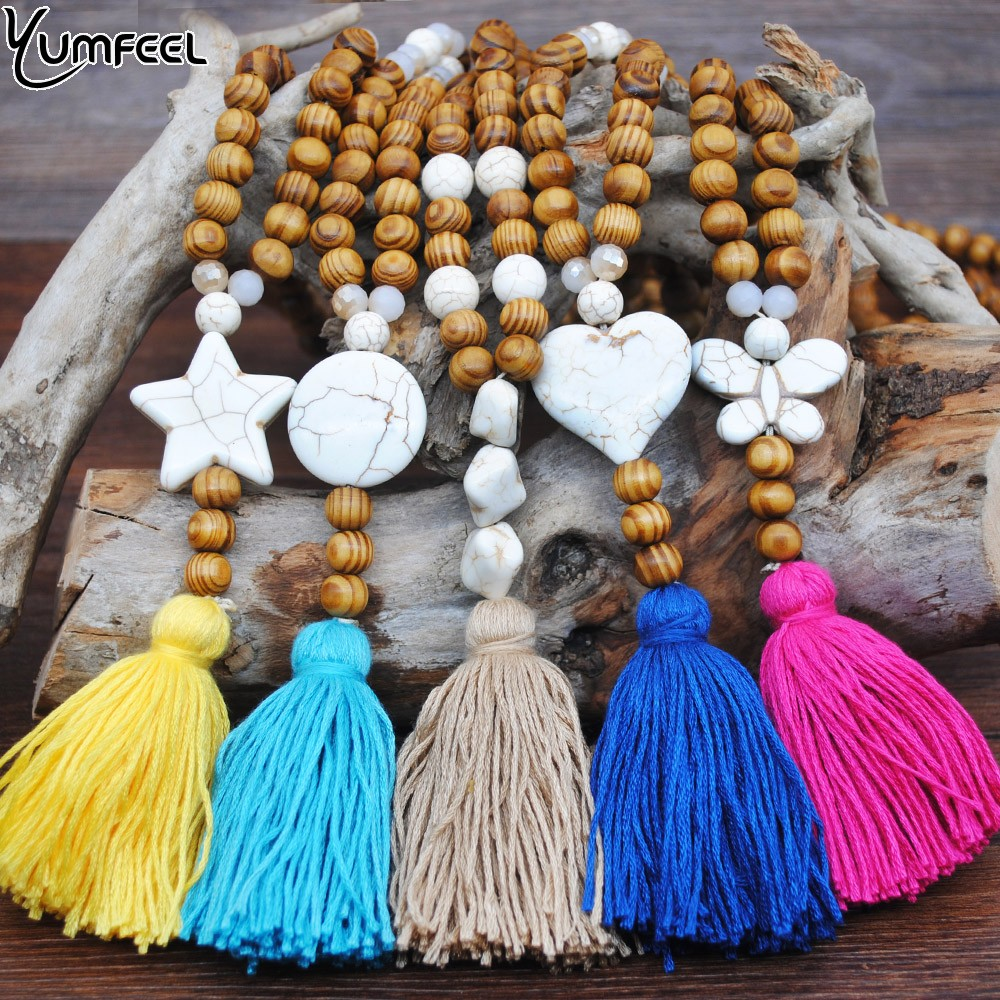 Natural Wood Bead Tassel Necklace Butterfly Star Heart Pendant Boho Necklace