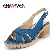 ENMAYER 2018 New Arrival Summer lady square heel platform back buckle strap sandals women denim casual high heels ZYL308