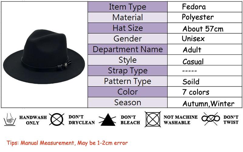 ef0a3f5405984f Winter Wool Panama Hats Men Solid Color Wide Brim With Belt Felt ...