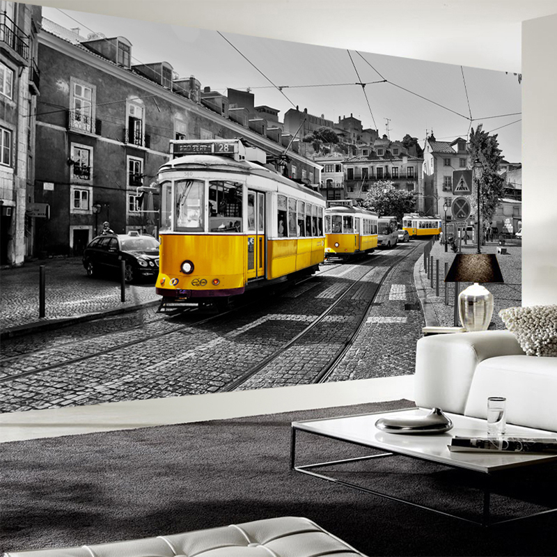 Custom Any Size 3D Mural Retro European Street Yellow Streetcar Black And White City Building Wallpaper Cafe Restaurant 3D Decor