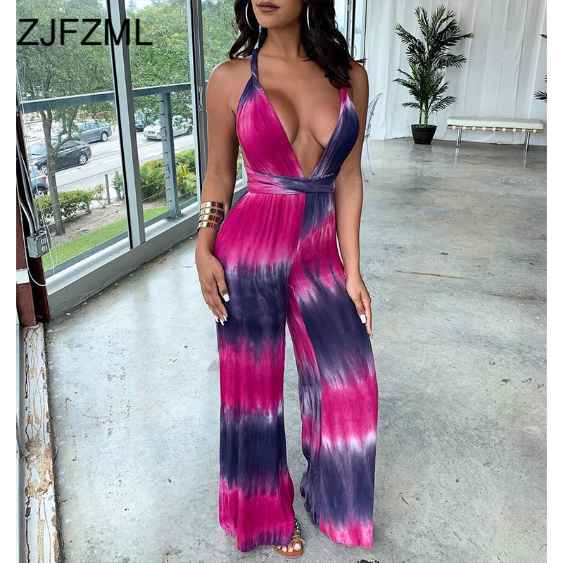 Colorful Tie Dye Sexy Rompers Womens   Jumpsuit   Deep V Neck Sleeveless Wide Leg Bodysuit Casual Cross Backless One Piece Overalls