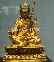"18 ""Tibet Budizm Tapınağı Eski Mor Bronz 24 K Altın Padmasambhava Buda Heykeli gold ram gold statuegold buddha statue -"