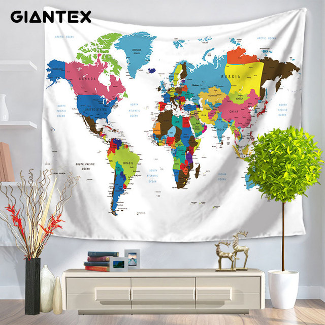 Giantex world map pattern home tapestry wall hanging colorful giantex world map pattern home tapestry wall hanging colorful printed decorative rug blanket wall art carpet gumiabroncs Gallery