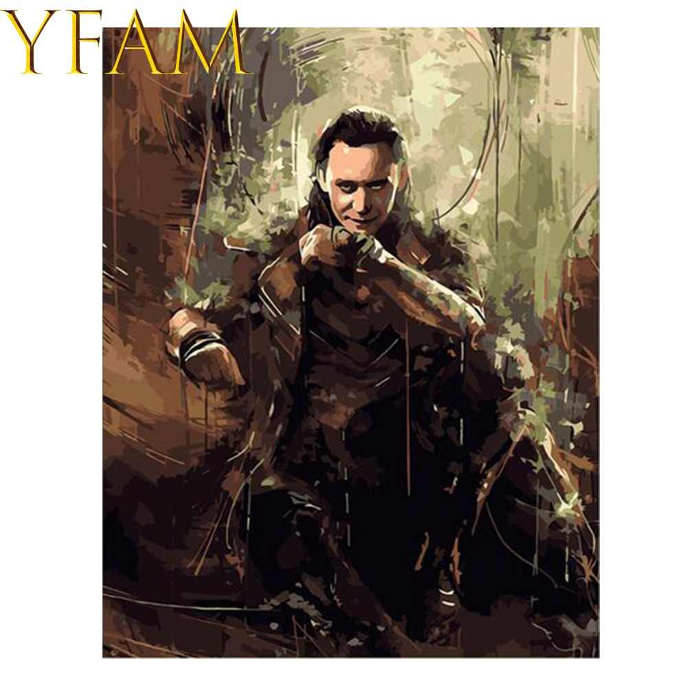 Movie The Avengers Loki Painting By Numbers Acrylic DIY Hand Paint Drawing Modern Home Decor Wall Picture Artwork