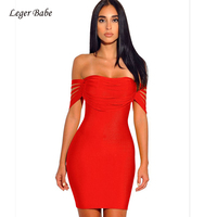 Leger Babe Tassels Bandage Dress Summer Women Dresses Yellow Red Fringe Off Shoulder Bandage Dress Party Vestidos High Quality