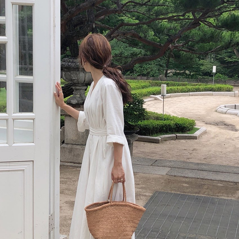 Korean Women Casual Dress Solid Ankle-Length Autumn Party Dress Vestidos Cute Clothing Office Lady Fold Loose Belt Dress 8