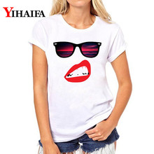 Women T-shirt ulzzang Graphic Tee Red lips glasses 3D Print T Shirt Lady Fashion Plus Size White T-shirts Tops woman clothes