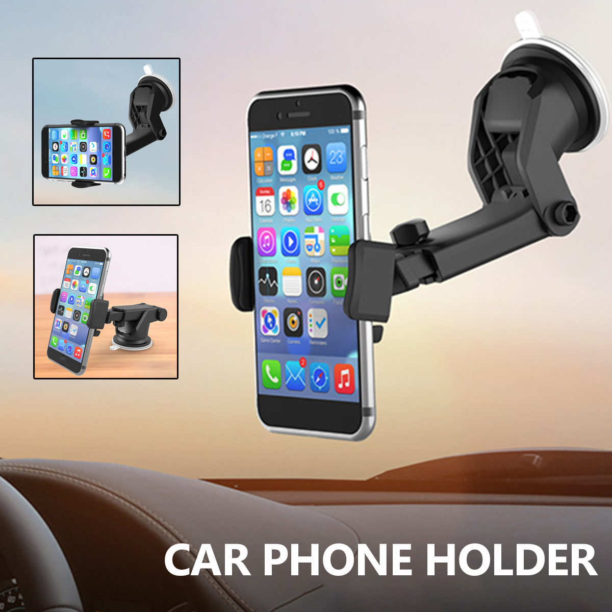 Universal 360 Rotation Windshield Mount Stand Adjustable Car Phone Holder Dashboard for Iphone X 8 for Samsung S9 S8 Plus