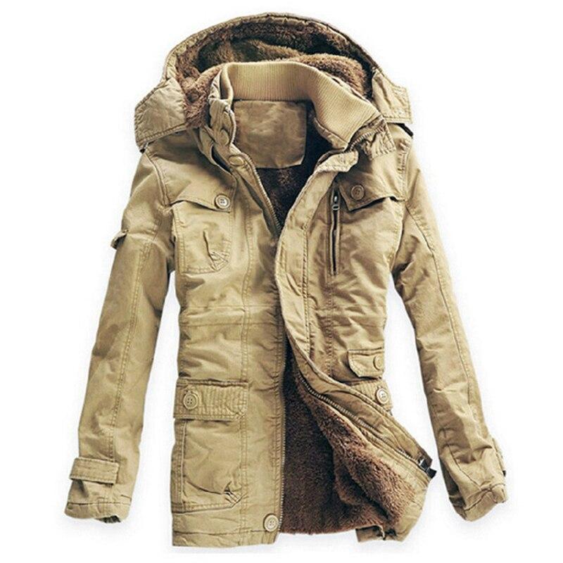 2017 Winter Jacket Men Thick Velvet Warm Jackets Parkas Hombre Men's Cotton Windbreaker Army Hooded Jacket Long Trench Coat Hot!