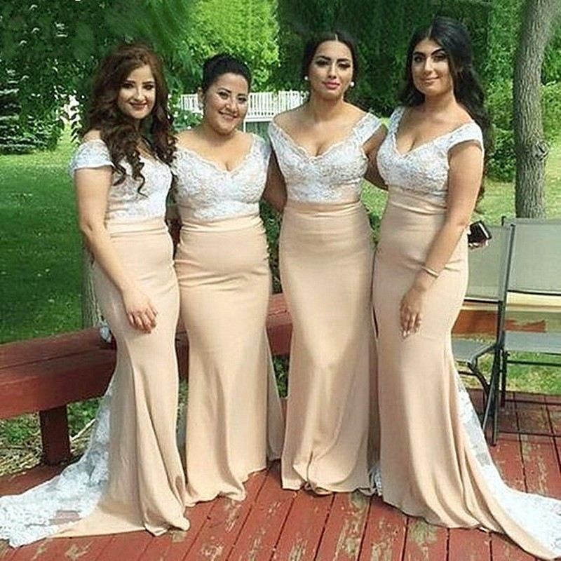 Cinderella African V-Neck Lace Applique Satin Court Train Mermaid   Bridesmaid     Dresses   Lace Wedding Party   Bridesmaid     Dresses