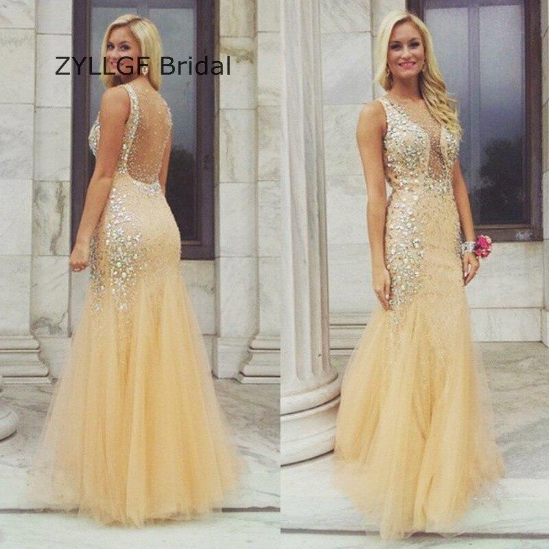 52c25d7196 US $199.0 |ZYLLGF Bridal Sexy Sheer Back Crystal Evening Dress Tulle  Vestido De Festa Longo De Luxo Indian Prom Dresses For Women DR65-in  Evening ...