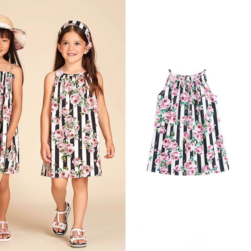 Girls romantic rose fashion Stripe printing Shoulder strap Handmade roses Sling dress
