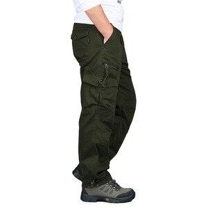 Image 4 - بنطلونات الجيش الرجالية للخريف والشتاء لعام 2020 بنطلونات مستقيمة طويلة للرجال بنطلونات تكتيكية غير رسمية بمقاسات كبيرة بنطلونات البضائع للرجال