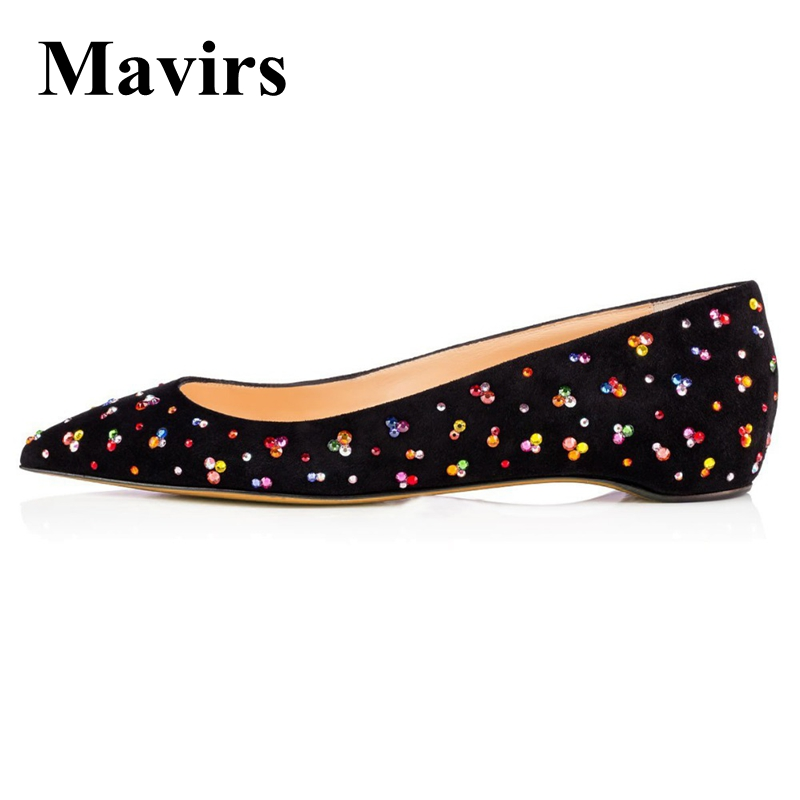 MAVIRS Brand Ballet Flats 2018 Pointed Toe Colorful Crystal Black Women Flats Slip-on Bride Wedding Shoes EU Size 35-46 fashion pointed toe women shoes solid patent pu brand shoes women flats summer style ballet princess shoes for casual crystal