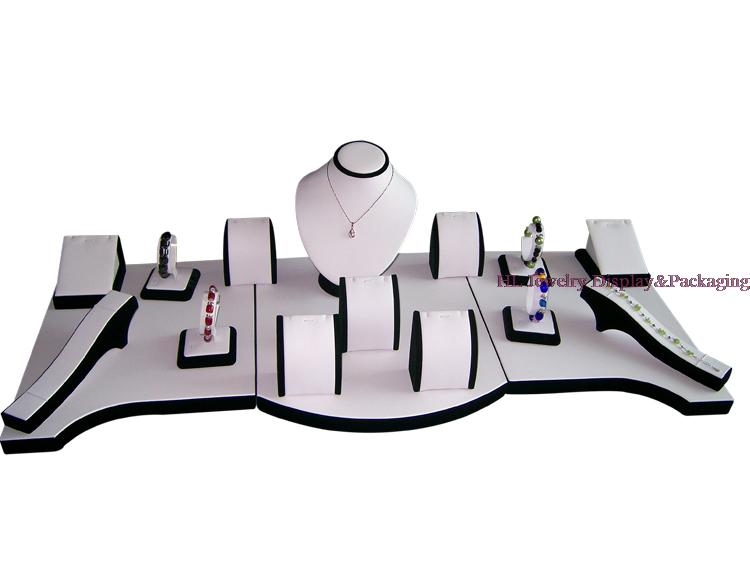 Bijoux D'affichage Collier Stand Couleurs Assorties Bijoux Ensembles Boucles D'oreilles Anneau Titulaire Blanc PU Avec Velours Noir