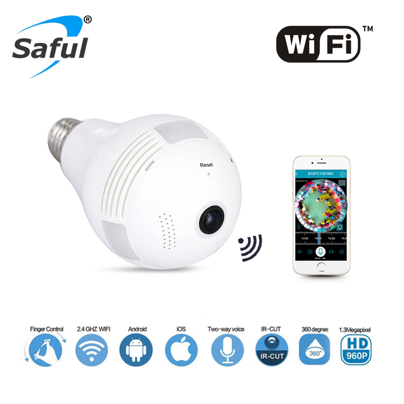 Wireless IP Camera Wifi Bulb Light Home Security 1.3MP 960P Fisheye 360 Degree Panoramic P2P Audio Surveillance Camera new hd 3mp led bulb light wireless camera fisheye panoramic wifi network ip home security camera system for ios android p2p