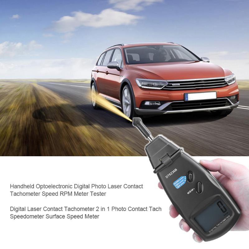Digital Laser Contact Tachometer 2in1 Photo Tach 99999 RPM Contact Tach Speedometer Surface Speed Meter Data Storage DT6236B victor dm6235p digital tachometer