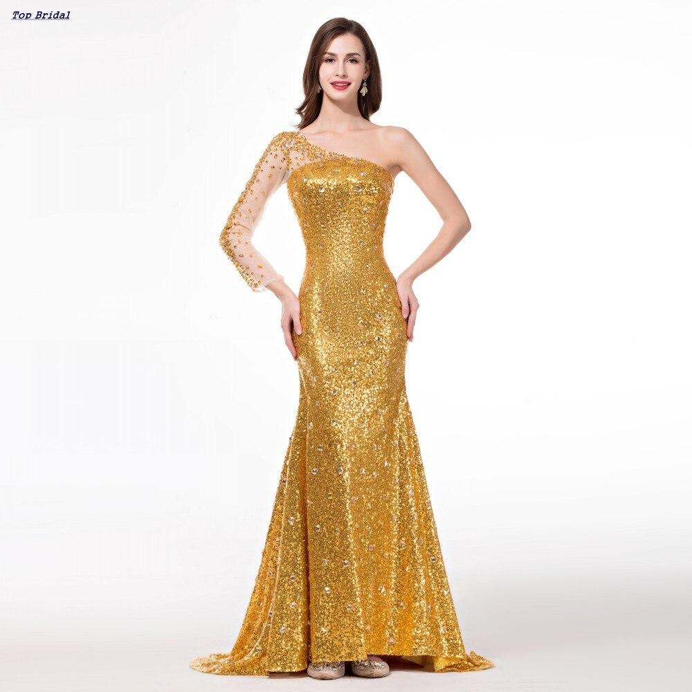 One Shoulder Long Sleeve Golden Evening Dress Rental Sparkly ...