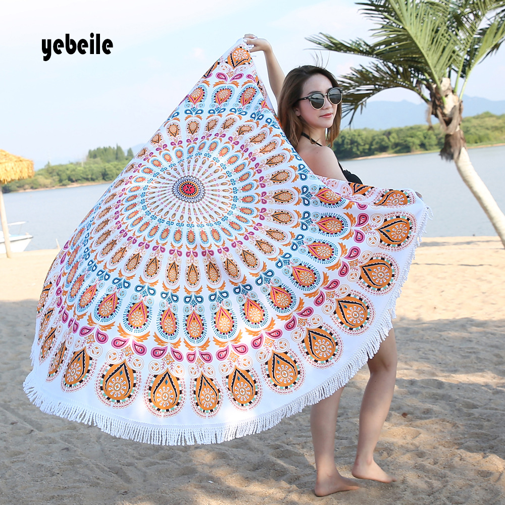 Home Obliging Yebeile Microfiber Round Mandala Tapestry Wall Hanging Throw Towel Beach Yo-ga Mat Decor Boho Circle Beachtowel Serviettedeplage